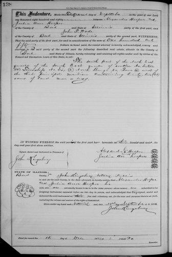 Bond County, Illinois, Deed Record, vol. 21, p. 138, Alexander and Julia Ann Hooper to John T. Wade, 22 Sept 1880.