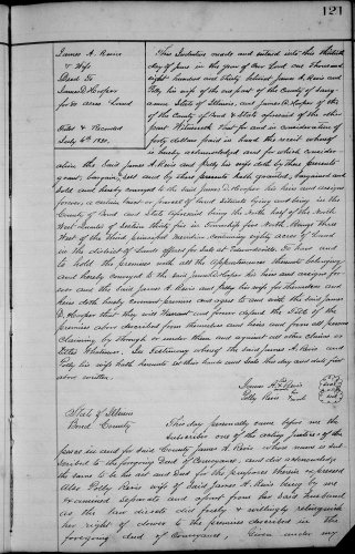 Bond County, Illinois, Deed Record, vol. A, p. 121, James A. and Polly Revis to James D. Hooper, 13 June 1830. Consideration: $40. Property: 80 acres, N 1/2. NW. Sec 35. T5. NR 3W. Recorded 30 June 1830.