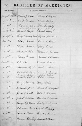 Bond County, Illinois, Register of Marriages, vol. A, p. 21, James M. Scritch–Adeline Reese, 4 Mar 1863.