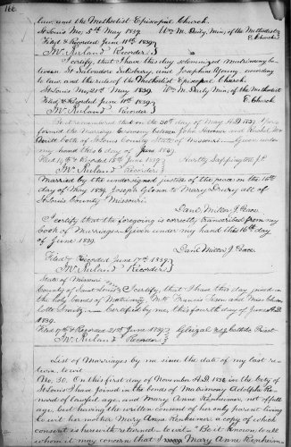 City of St. Louis, Missouri, Marriage Record, vol. 2, pt. 1, 1836-1842, p. 166, St. Salvadore Salisbury–Josephine Young, 21 May 1839.