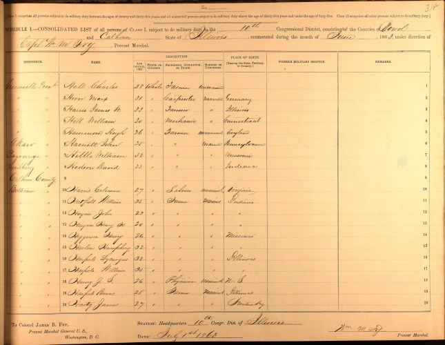 Civil War Draft Registrations, Consolidated List, Class I., 10th District, Illinois, vol. 2 of 6, p. 318, no. 4, William Hill. Greenville Precinct, age 30, mechanic, married, born in Connecticut.