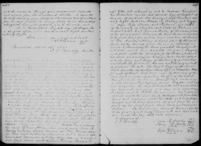Clinton County, Illinois, Deed Record, vol. D, p. 468, H. R. Hawley to Thomas Hooper, William Dunn estate, 2 Aug 1838