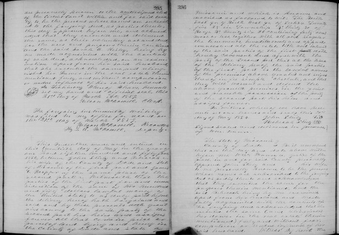 Dade County, Missouri, Deeds, vol 6, p. 395, John and Rebecca Steele to James C. Hooper, 20 May 1854. Consideration $250. 40 acres.