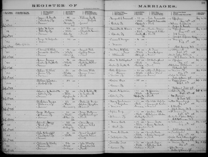 Effingham County, Illinois, Register of Marriages, p. 10, no. 121, Edward B. White–Mrs. Mary A. Frew White, 5 Sept 1878.
