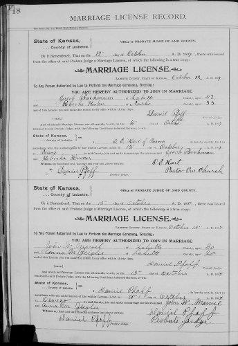 Labette County, Kansas, Marriage License Record, vol. H, p. 18, Jacob Bachman–Rebecka Hoover, 13 Oct 1897