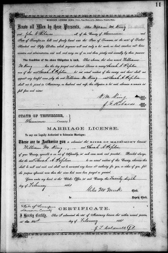 Lawrence County, Tennessee, Marriage Records, vol. B, 1861-1866, p. 11, William M. King–Sarah A. Poplin, 26 Feb 1861.
