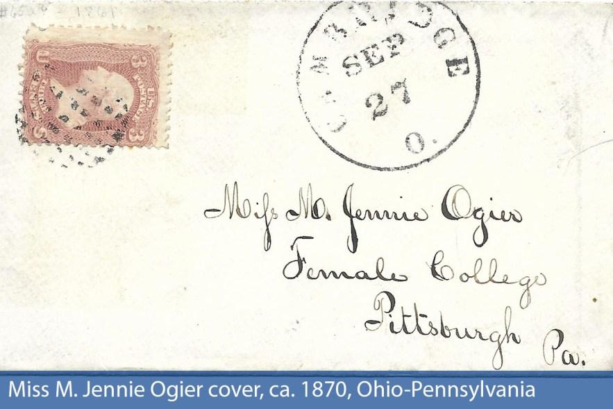 Miss M. Jennie Ogier cover, ca. 1870, Ohio-Pennsylvania