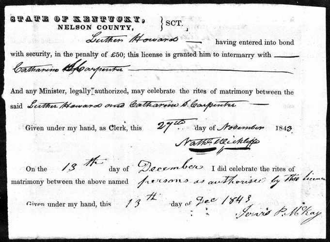 Nelson County, Kentucky, Marriage Licenses 1839-1845, license and return, Luther Howard–Catharine S. Carpenter, 13 Dec 1843.