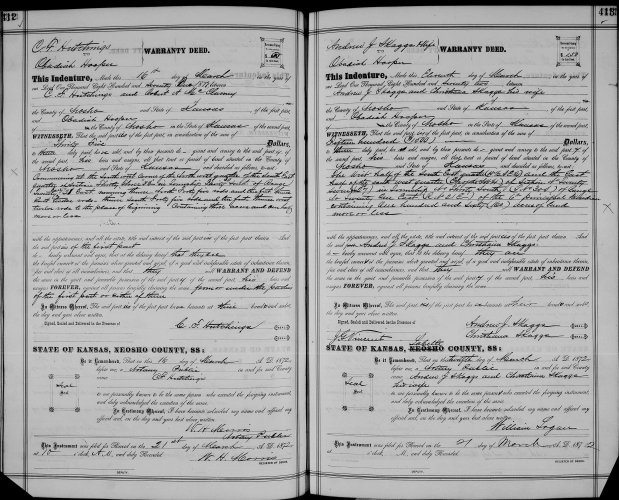 Neosho County, Kansas, Deed Records, vol. H, p. 412, C. F. Hutchings to Obediah Hooper, 16 Mar 1872 and p. 413, Andrew and Christina Skaggs to Obediah Hooper, 11 Mar 1872.
