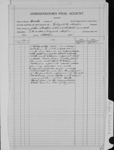Neosho County, Kansas, Probate Court, Probate estate files, Elizabeth Hooper, John Hooper administrator, administrators final account, 26 Oct 1915.