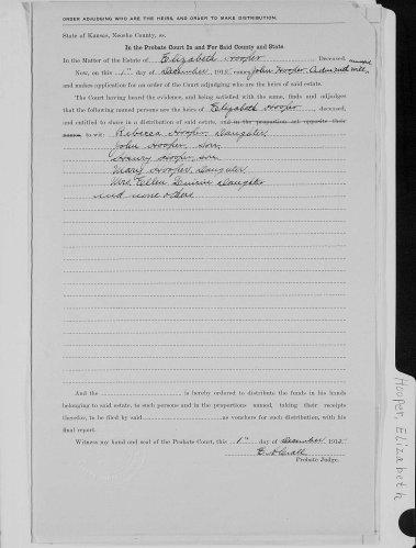 Neosho County, Kansas, Probate Court, Probate estate files, Elizabeth Hooper, John Hooper administrator, order adjudging heirs, 1 Oct 1915.