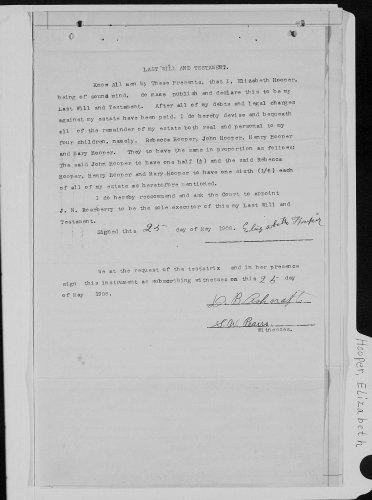 Neosho County, Kansas, Probate Court, Probate estate files, Elizabeth Hooper, last will and testament, 25 May 1908.