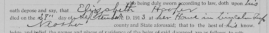 Probate estate files, Elizabeth Hooper, affidavit of death, 27 Sept 1913, filed 7 Oct 1913.