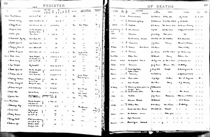 St. Louis, Missouri, Register of Deaths 1904-1905, p. 222, no. 3014, John W. Phillips, 3 May 1905.