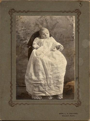 "Hanley Solease Baird, January 1904, Walnut, Kansas. Handwriting on back of photo reads, ""Hanley Baird, 3 months."" Privately held by Kimberli Faulkner Hull, niece of Eleanor Phillis Baird, wife of Hanley Baird."