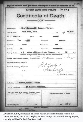 Davidson County, Tennessee Board of Health, death certificate, file no. 674 (1909), Mrs. Margaret Francis Taylor, 24 June 1909; Faulkner-Hull Family Papers, privately held by Kimberli Faulkner Hull.