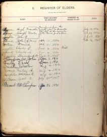 Presbyterian Historical Society, Philadelphia, Pennsylvania, Church Registers, Lore City Ohio First Presbyterian Church Session Register, 1882-1947, Register of Elders, p. 2.