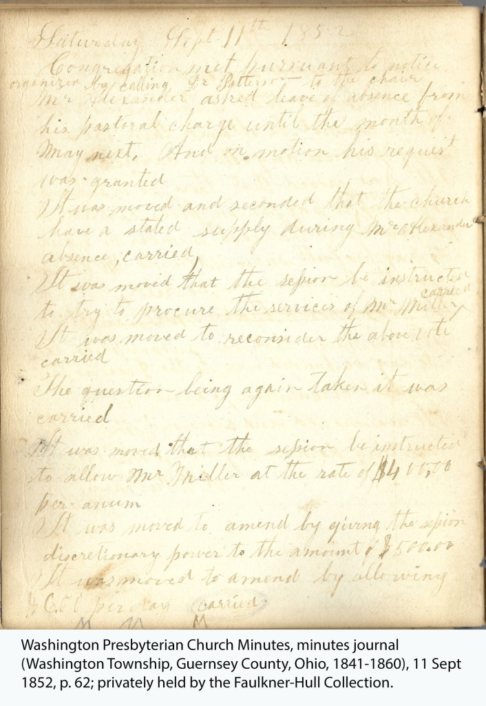Washington Presbyterian Church Minutes, minutes journal (Washington Township, Guernsey County, Ohio, 1841-1860), 11 Sept 1852, p. 62; privately held by the Faulkner-Hull Collection.
