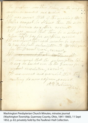 Washington Presbyterian Church Minutes, minutes journal (Washington Township, Guernsey County, Ohio, 1841-1860), 11 Sept 1852, p. 63; privately held by the Faulkner-Hull Collection.