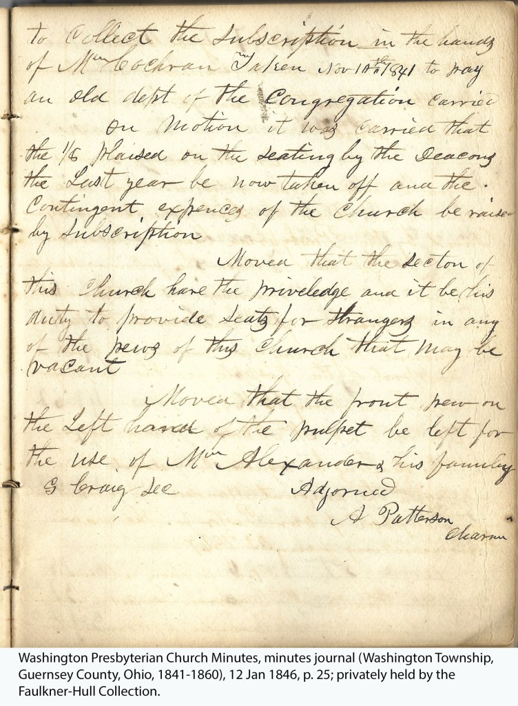 Washington Presbyterian Church Minutes, minutes journal (Washington Township, Guernsey County, Ohio, 1841-1860), 12 Jan 1846, p. 25; privately held by the Faulkner-Hull Collection.