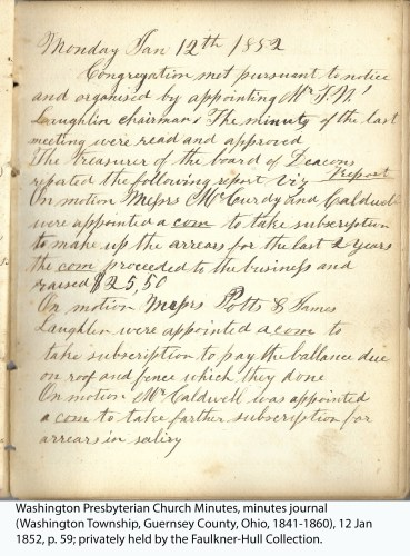 Washington Presbyterian Church Minutes, minutes journal (Washington Township, Guernsey County, Ohio, 1841-1860), 12 Jan 1852, p. 59; privately held by the Faulkner-Hull Collection.