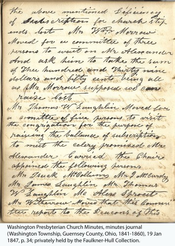 Washington Presbyterian Church Minutes, minutes journal (Washington Township, Guernsey County, Ohio, 1841-1860), 19 Jan 1847, p. 34; privately held by the Faulkner-Hull Collection.