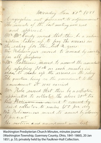 Washington Presbyterian Church Minutes, minutes journal (Washington Township, Guernsey County, Ohio, 1841-1860), 20 Jan 1851, p. 55; privately held by the Faulkner-Hull Collection.