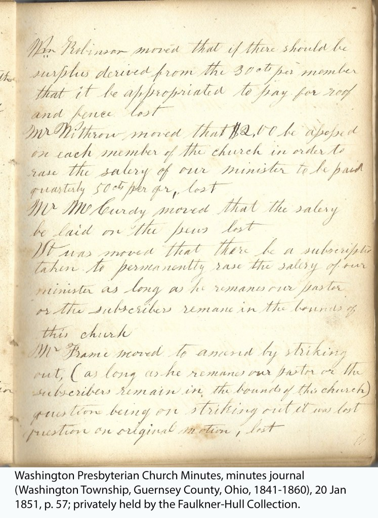 Washington Presbyterian Church Minutes, minutes journal (Washington Township, Guernsey County, Ohio, 1841-1860), 20 Jan 1851, p. 57; privately held by the Faulkner-Hull Collection.