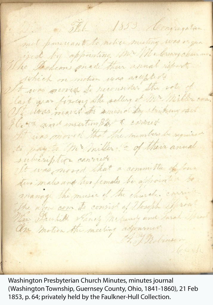 Washington Presbyterian Church Minutes, minutes journal (Washington Township, Guernsey County, Ohio, 1841-1860), 21 Feb 1853, p. 64; privately held by the Faulkner-Hull Collection.