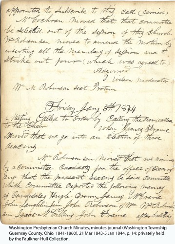 Washington Presbyterian Church Minutes, minutes journal (Washington Township, Guernsey County, Ohio, 1841-1860), 21 Mar 1843-5 Jan 1844, p. 14; privately held by the Faulkner-Hull Collection.