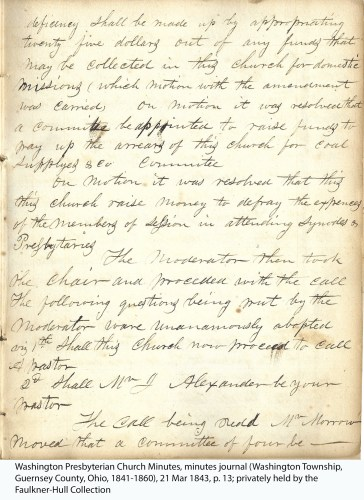 Washington Presbyterian Church Minutes, minutes journal (Washington Township, Guernsey County, Ohio, 1841-1860), 21 Mar 1843, p. 13; privately held by the Faulkner-Hull Collection.