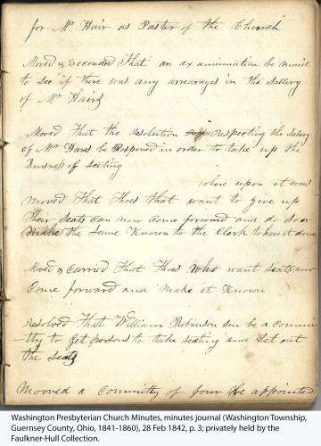 Washington Presbyterian Church Minutes, minutes journal (Washington Township, Guernsey County, Ohio, 1841-1860), 28 Feb 1842, p. 3; privately held by the Faulkner-Hull Collection.