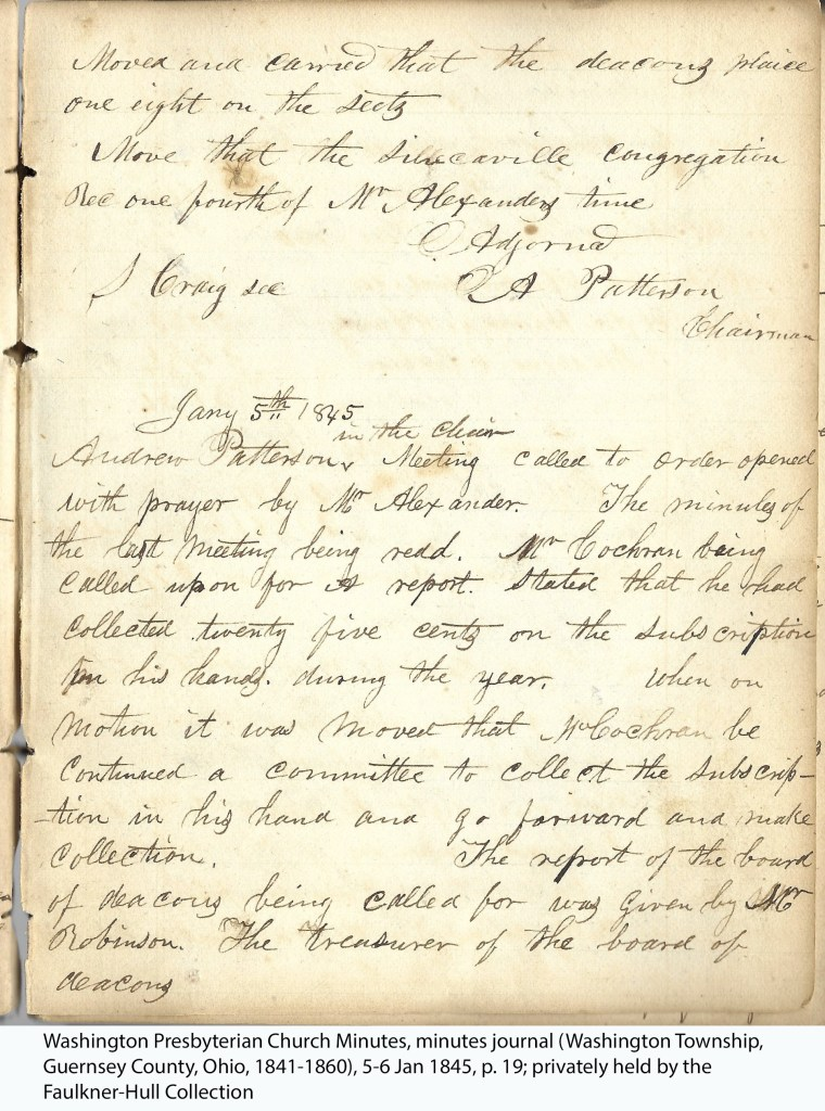 Washington Presbyterian Church Minutes, minutes journal (Washington Township, Guernsey County, Ohio, 1841-1860), 5-6 Jan 1845, p. 19; privately held by the Faulkner-Hull Collection.