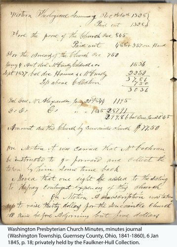 Washington Presbyterian Church Minutes, minutes journal (Washington Township, Guernsey County, Ohio, 1841-1860), 6 Jan 1845, p. 18; privately held by the Faulkner-Hull Collection.