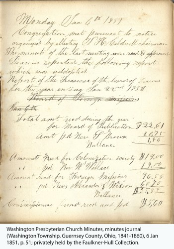 Washington Presbyterian Church Minutes, minutes journal (Washington Township, Guernsey County, Ohio, 1841-1860), 6 Jan 1851, p. 51; privately held by the Faulkner-Hull Collection.