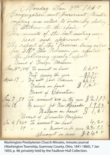 Washington Presbyterian Church Minutes, minutes journal (Washington Township, Guernsey County, Ohio, 1841-1860), 7 Jan 1850, p. 48; privately held by the Faulkner-Hull Collection.
