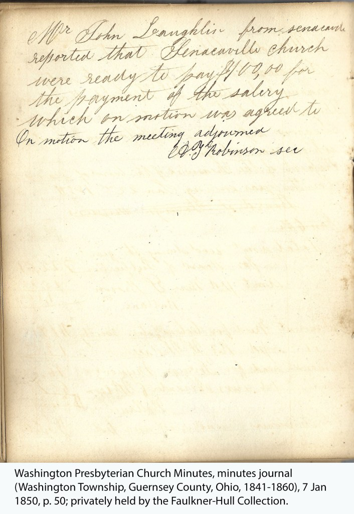 Washington Presbyterian Church Minutes, minutes journal (Washington Township, Guernsey County, Ohio, 1841-1860), 7 Jan 1850, p. 50; privately held by the Faulkner-Hull Collection.