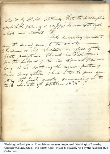 Washington Presbyterian Church Minutes, minutes journal (Washington Township, Guernsey County, Ohio, 1841-1860), April 1842, p. 6; privately held by the Faulkner-Hull Collection.