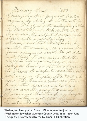 Washington Presbyterian Church Minutes, minutes journal (Washington Township, Guernsey County, Ohio, 1841-1860), June 1853, p. 65; privately held by the Faulkner-Hull Collection.