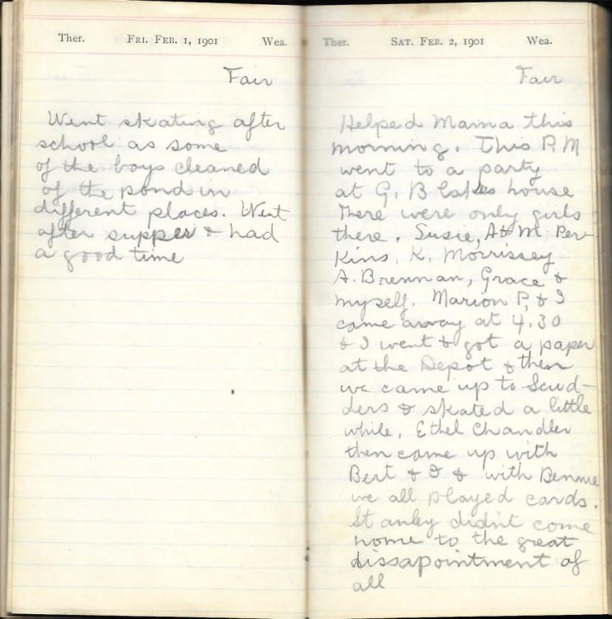 May L. Crawshaw 1901 Diary, Taunton, Bristol County, Massachusetts, 1-2 Feb 1901 entries