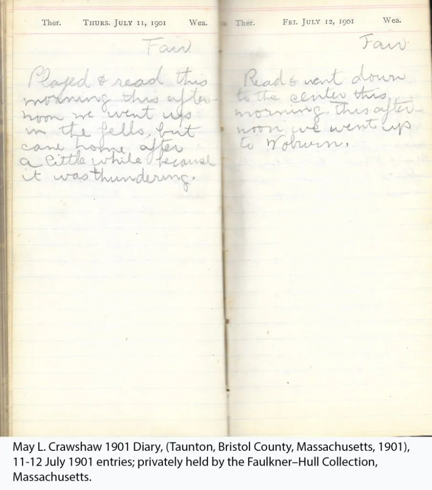 May L. Crawshaw 1901 Diary, Taunton, Bristol County, Massachusetts, 11-12 July 1901 entries