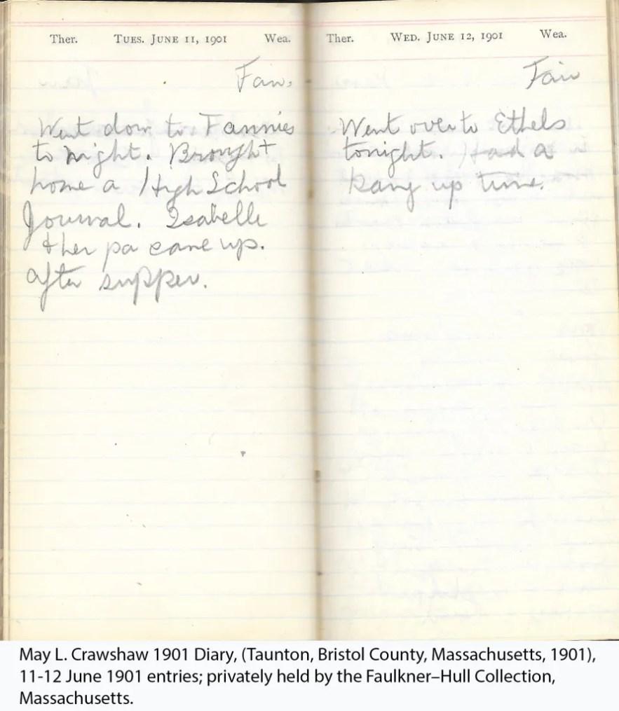 May L. Crawshaw 1901 Diary, Taunton, Bristol County, Massachusetts, 11-12 June 1901 entries