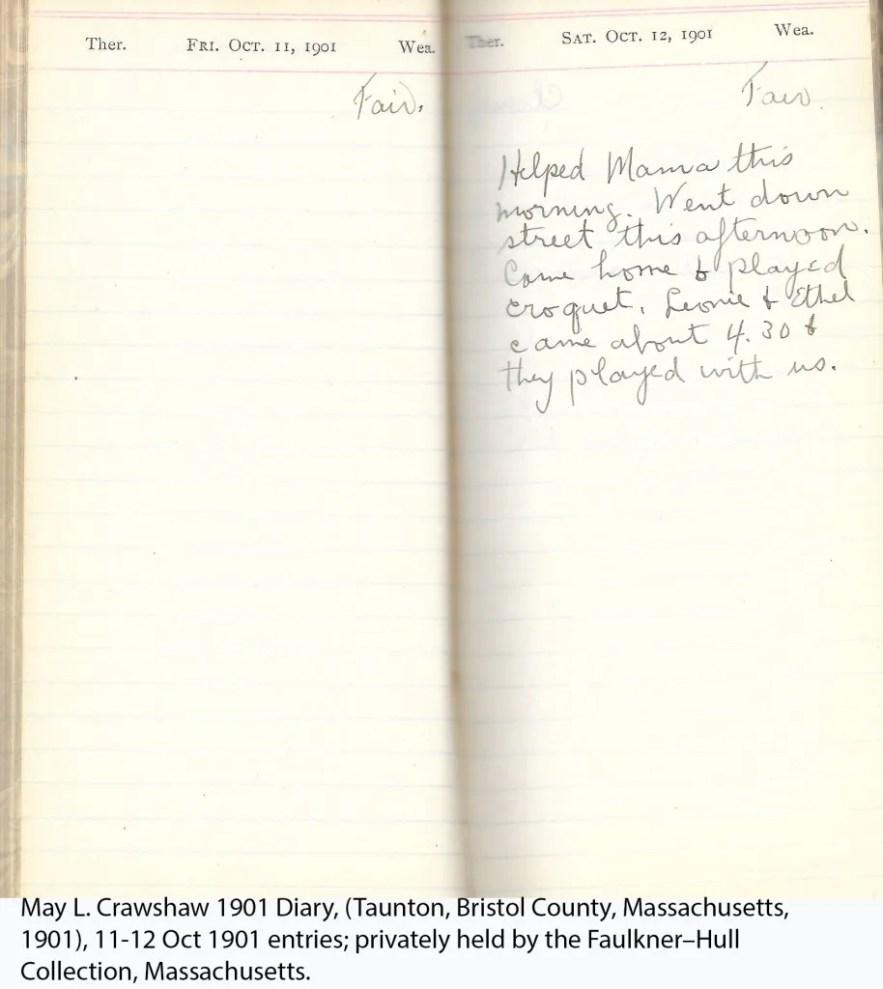 May L. Crawshaw 1901 Diary, Taunton, Bristol County, Massachusetts, 11-12 Oct 1901 entries