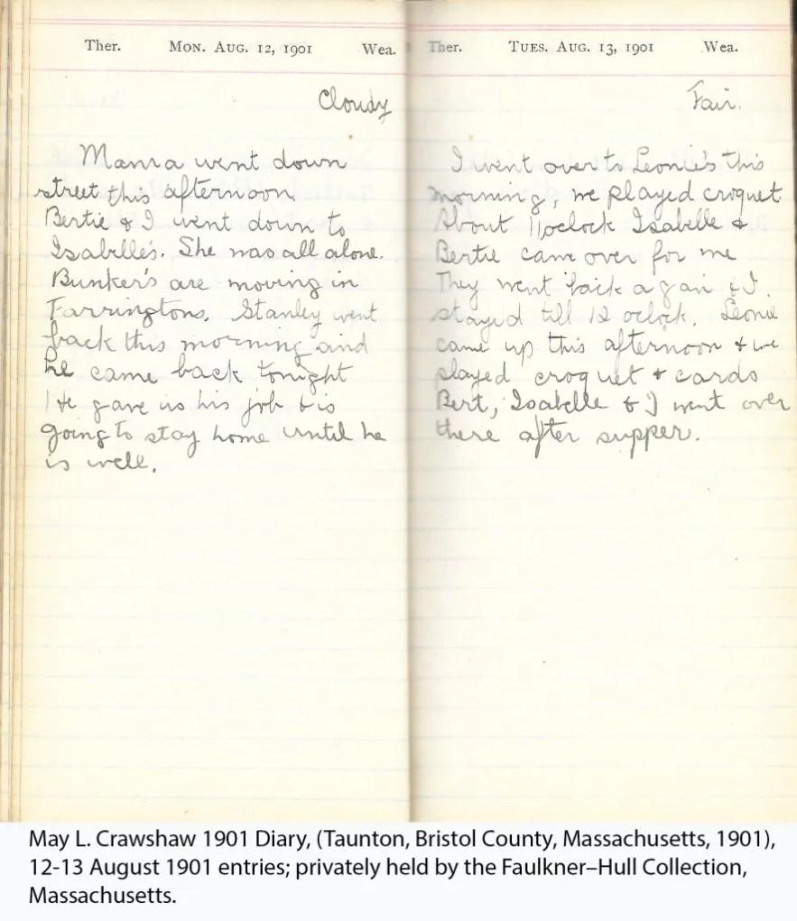 May L. Crawshaw 1901 Diary, Taunton, Bristol County, Massachusetts, 12-13 Aug 1901 entries