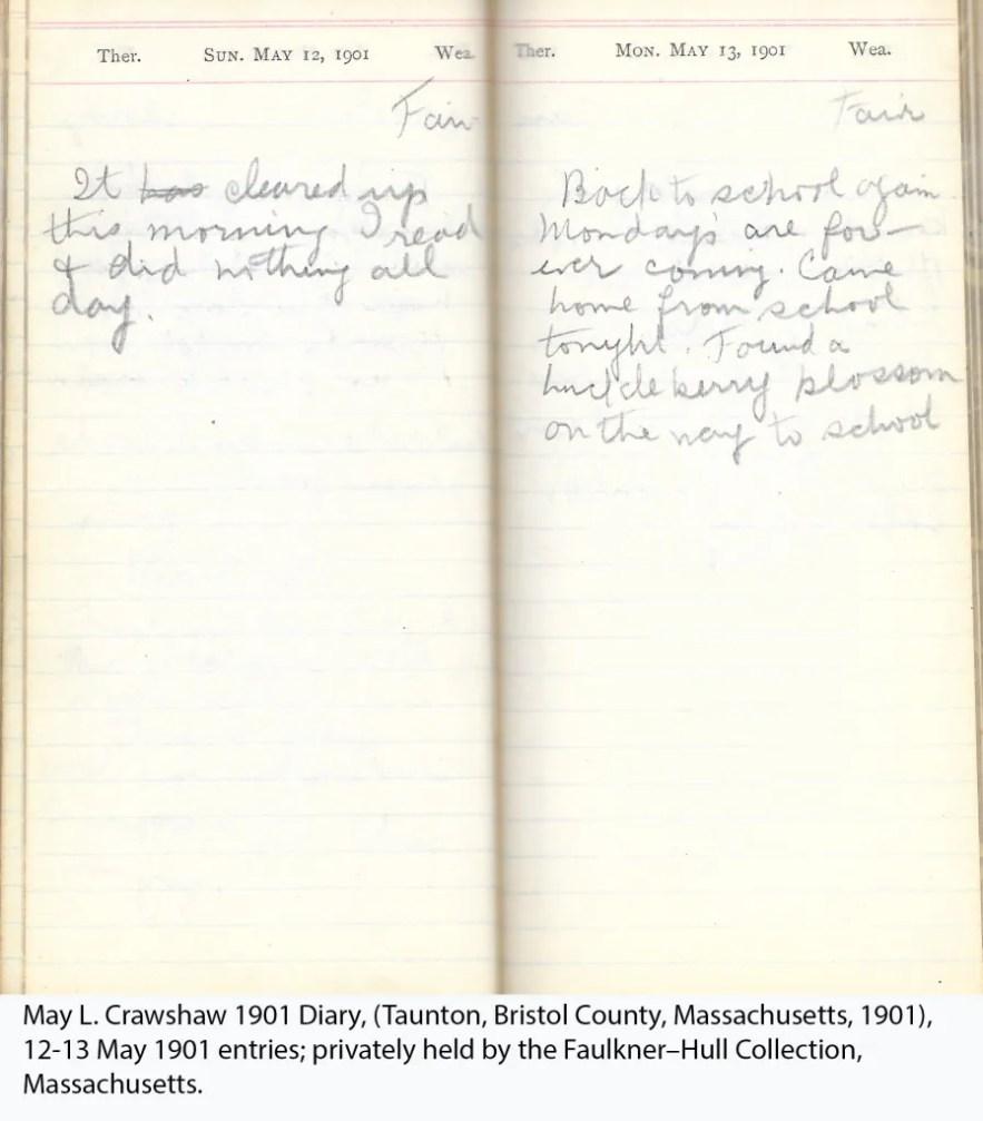 May L. Crawshaw 1901 Diary, Taunton, Bristol County, Massachusetts, 12-13 May 1901 entries