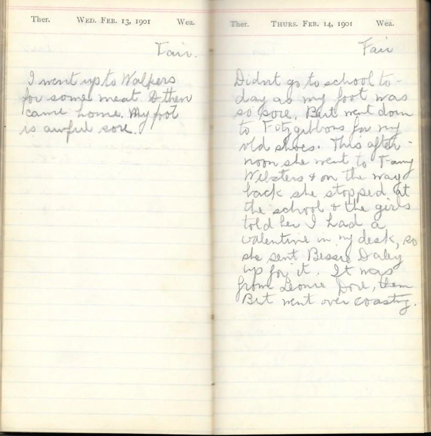 May L. Crawshaw 1901 Diary, Taunton, Bristol County, Massachusetts, 13-14 Feb 1901 entries