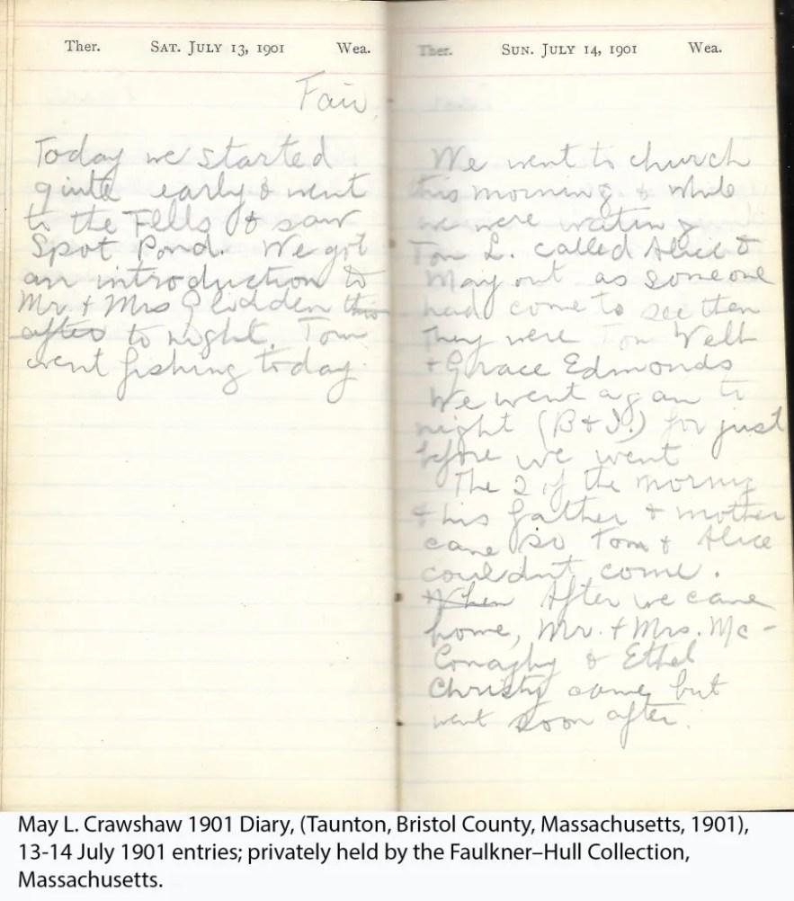 May L. Crawshaw 1901 Diary, Taunton, Bristol County, Massachusetts, 13-14 July 1901 entries