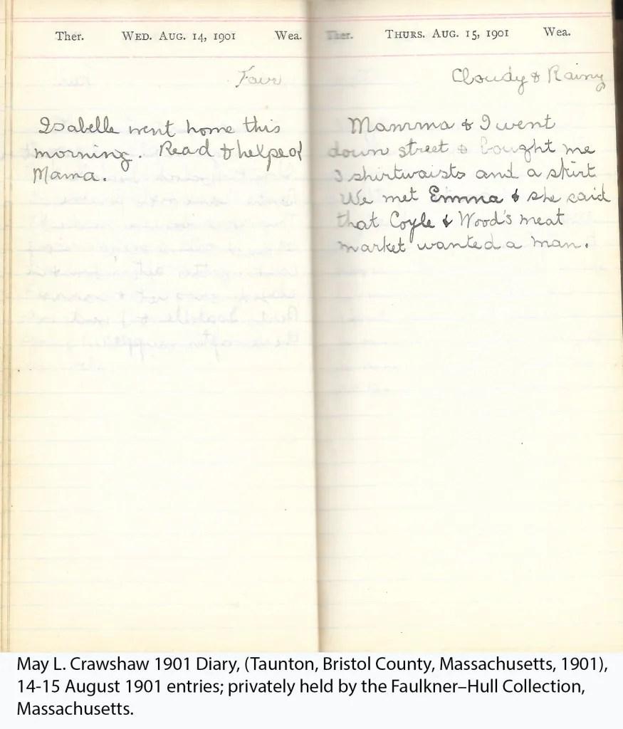 May L. Crawshaw 1901 Diary, Taunton, Bristol County, Massachusetts, 14-15 Aug 1901 entries