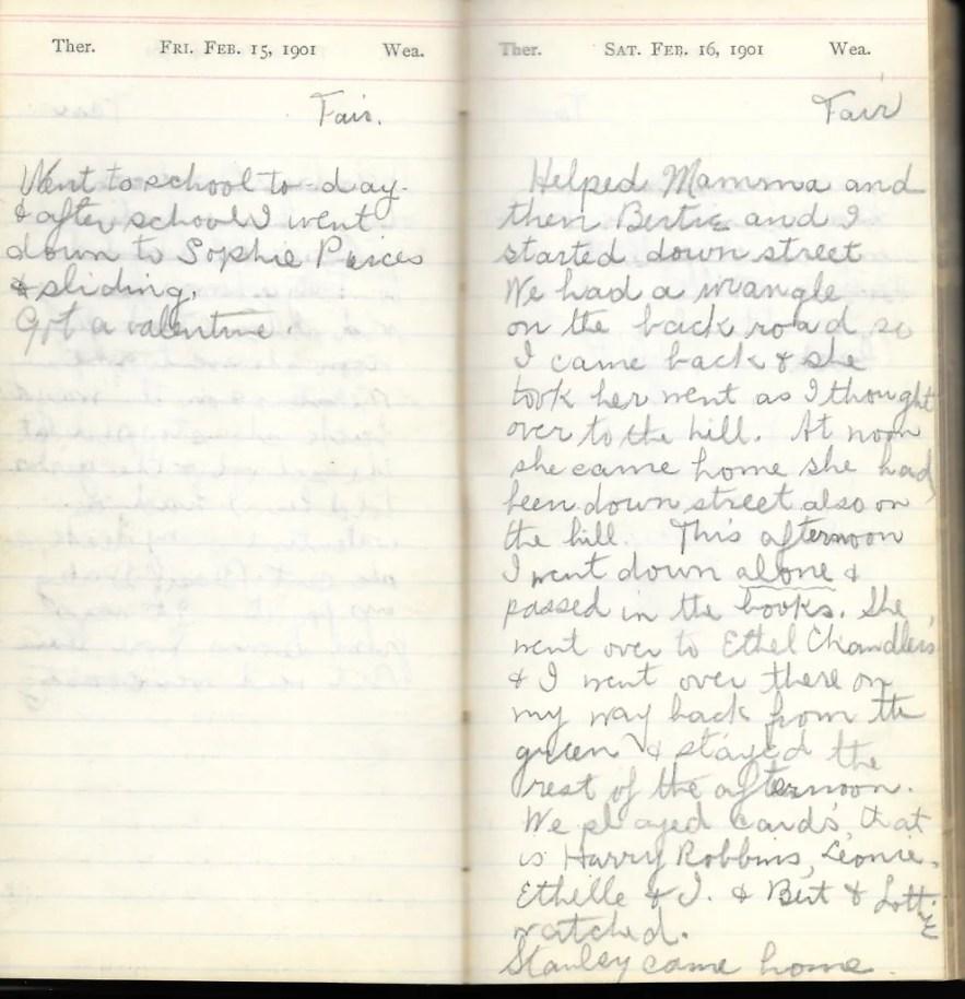 May L. Crawshaw 1901 Diary, Taunton, Bristol County, Massachusetts, 15-16 Feb 1901 entries