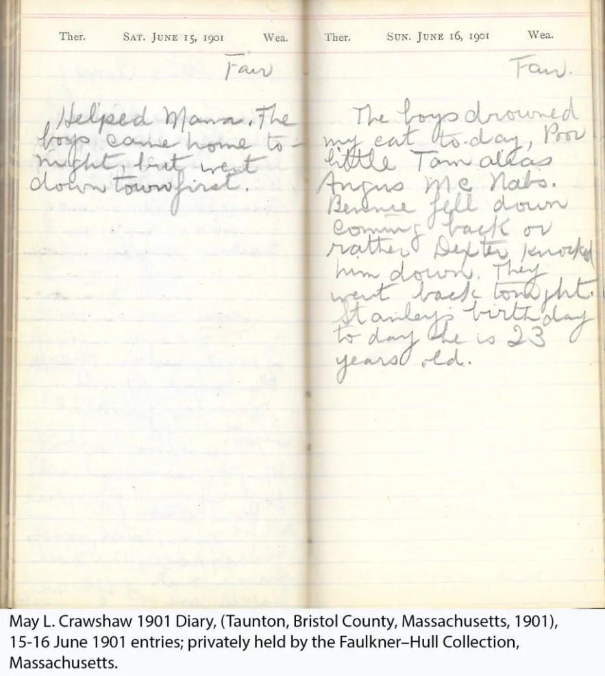 May L. Crawshaw 1901 Diary, Taunton, Bristol County, Massachusetts, 15-16 June 1901 entries